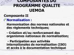composantes du programme qualite uemoa2