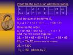 proof the the sum of an arithmetic series