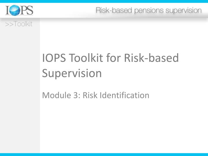 iops toolkit for risk based supervision n.