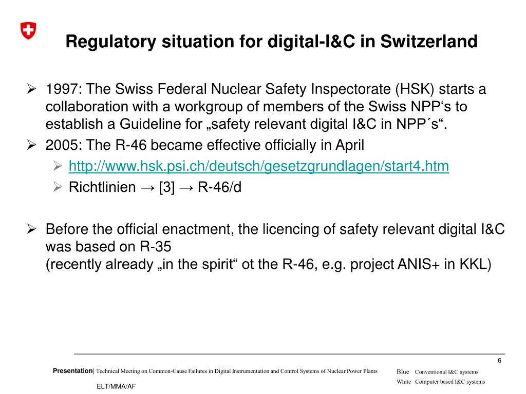 Regulatory situation for digital-I&C in Switzerland