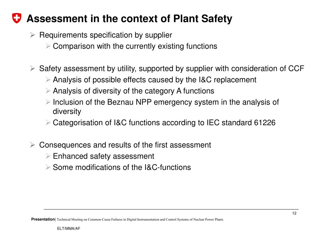 Assessment in the context of Plant Safety