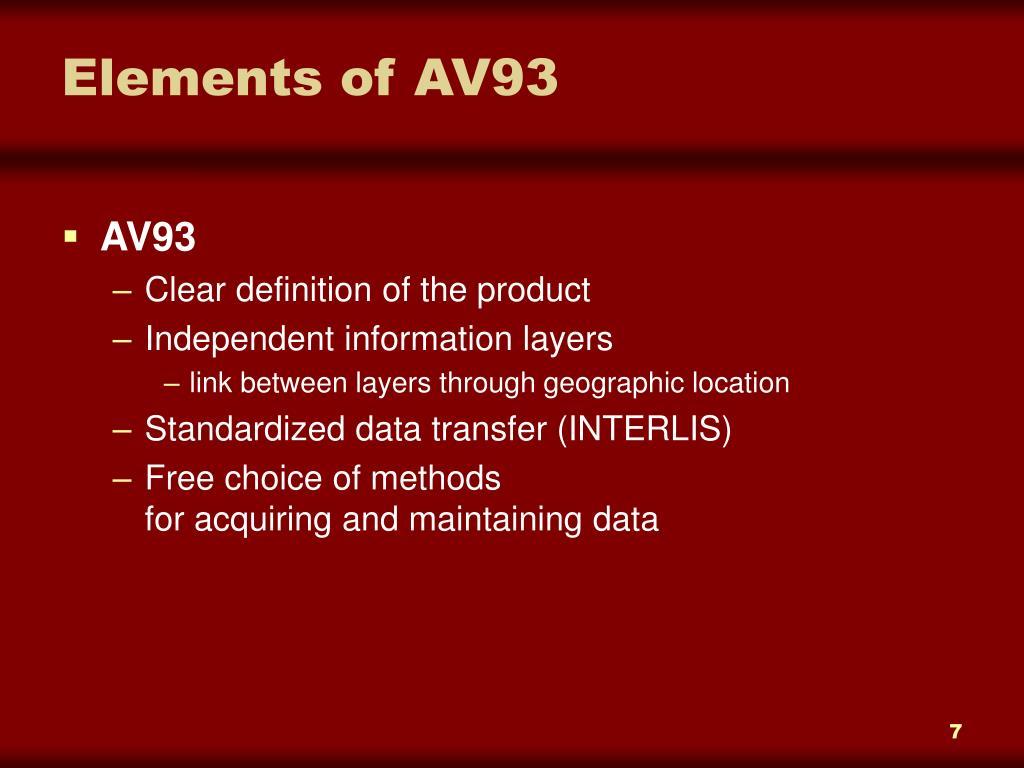 Elements of AV93