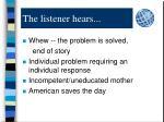the listener hears