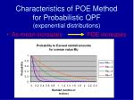 characteristics of poe method for probabilistic qpf exponential distributions