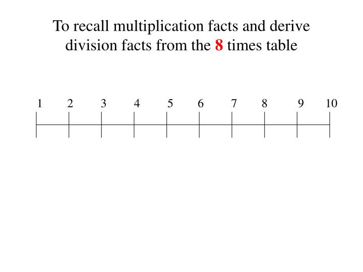 To recall multiplication facts and derive division facts from the 8 times table1