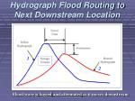 hydrograph flood routing to next downstream location