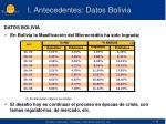 i antecedentes datos bolivia