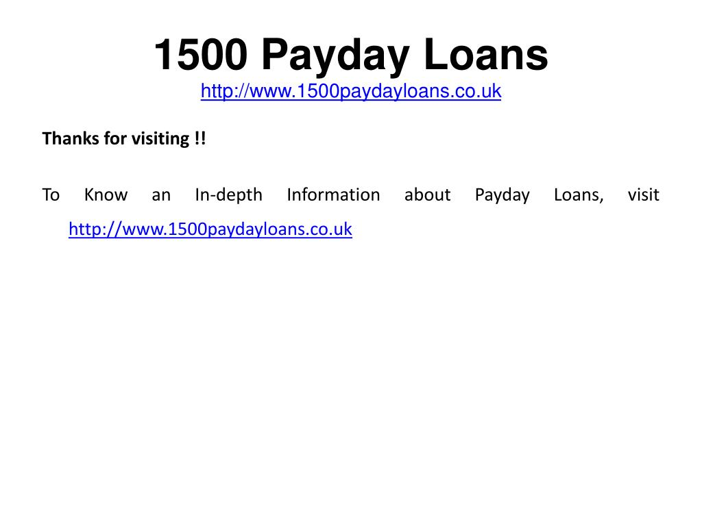 1500 Payday Loans