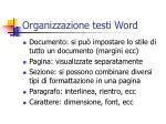 organizzazione testi word