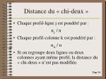 distance du chi deux
