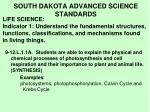 south dakota advanced science standards