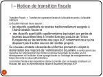 i notion de transition fiscale