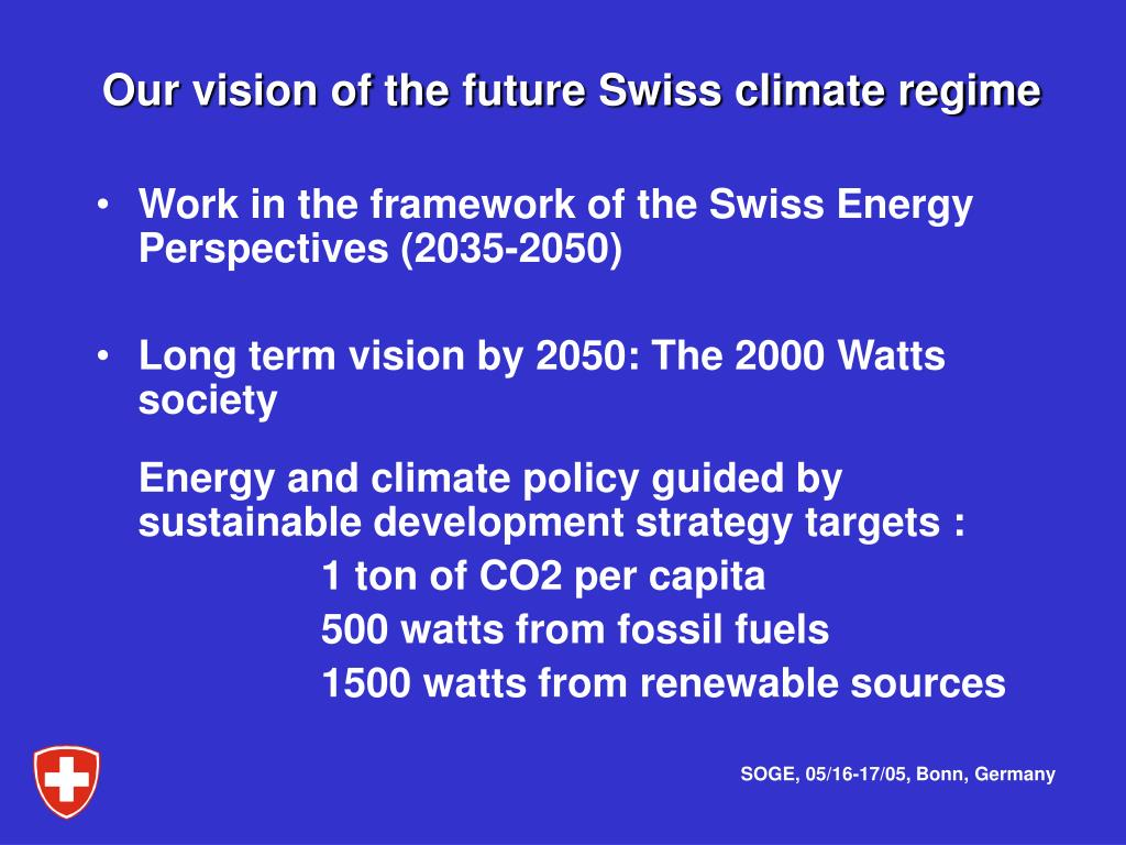 Our vision of the future Swiss climate regime