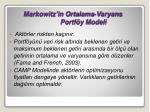 markowitz in ortalama varyans portf y modeli