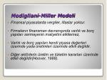 modigliani miller modeli
