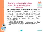 exporting a heavily regulated area three main regulatory agencies