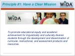 principle 1 have a clear mission