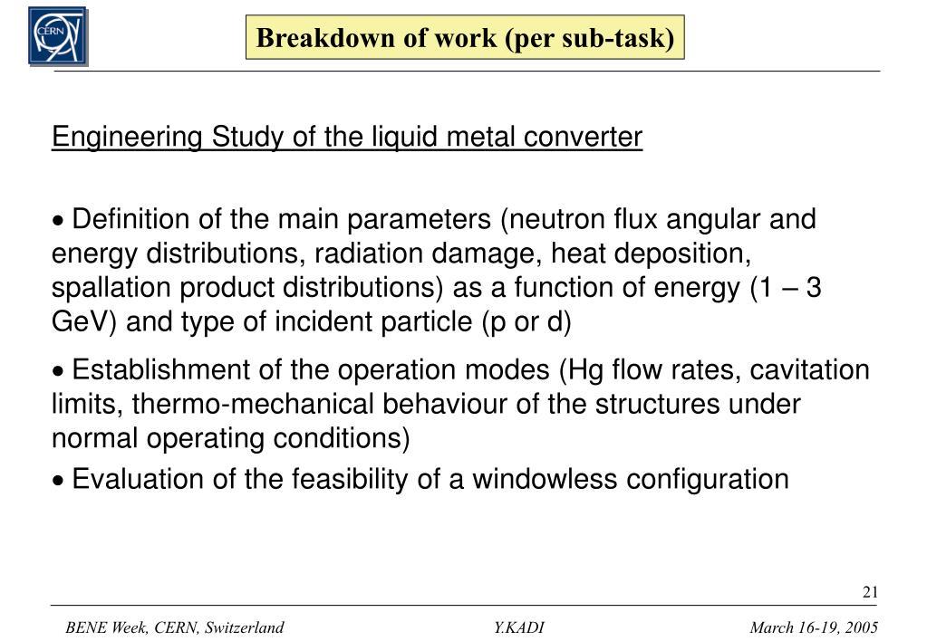 Breakdown of work (per sub-task)