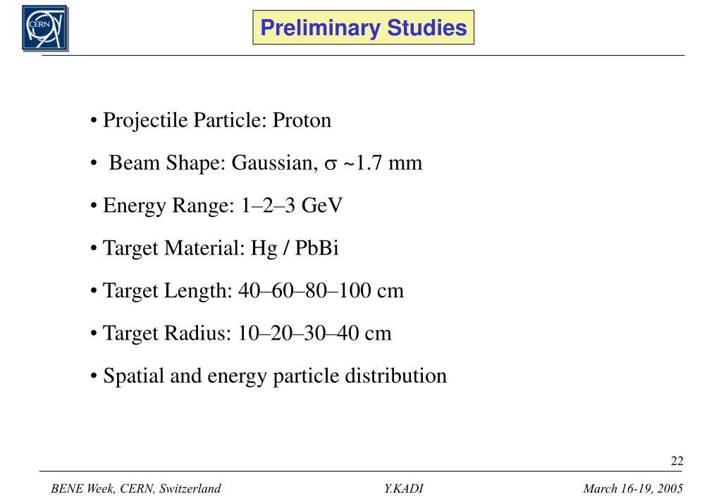 Preliminary Studies