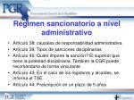 r gimen sancionatorio a nivel administrativo