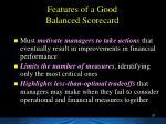 features of a good balanced scorecard1