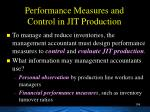 performance measures and control in jit production