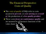 the financial perspective costs of quality