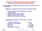 automation techniques for fast implementation of high performance dsp algorithms in fpgas23