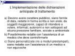 l implementazione delle dichiarazioni anticipate di trattamento