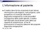 l informazione al paziente