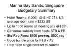 marina bay sands singapore budgetary summary