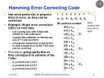 hamming error correcting code