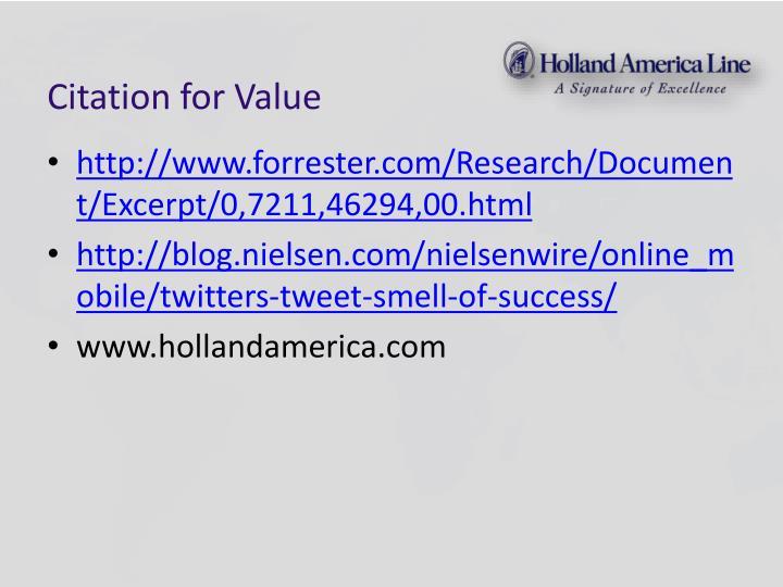 Citation for Value