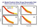 a1 model predicts other drugs reasonably well week 8 tumor size percent reduction as predictor