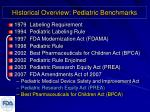 historical overview pediatric benchmarks