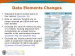 data elements changes