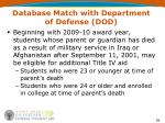 database match with department of defense dod