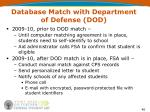 database match with department of defense dod2