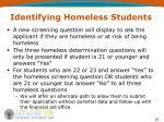 identifying homeless students