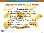 important 2010 2011 dates1