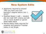 new system edits