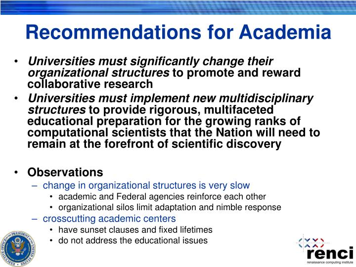 Recommendations for Academia