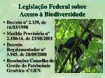 legisla o federal sobre acesso biodiversidade