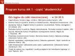 program kursu am 1 cz akademicka