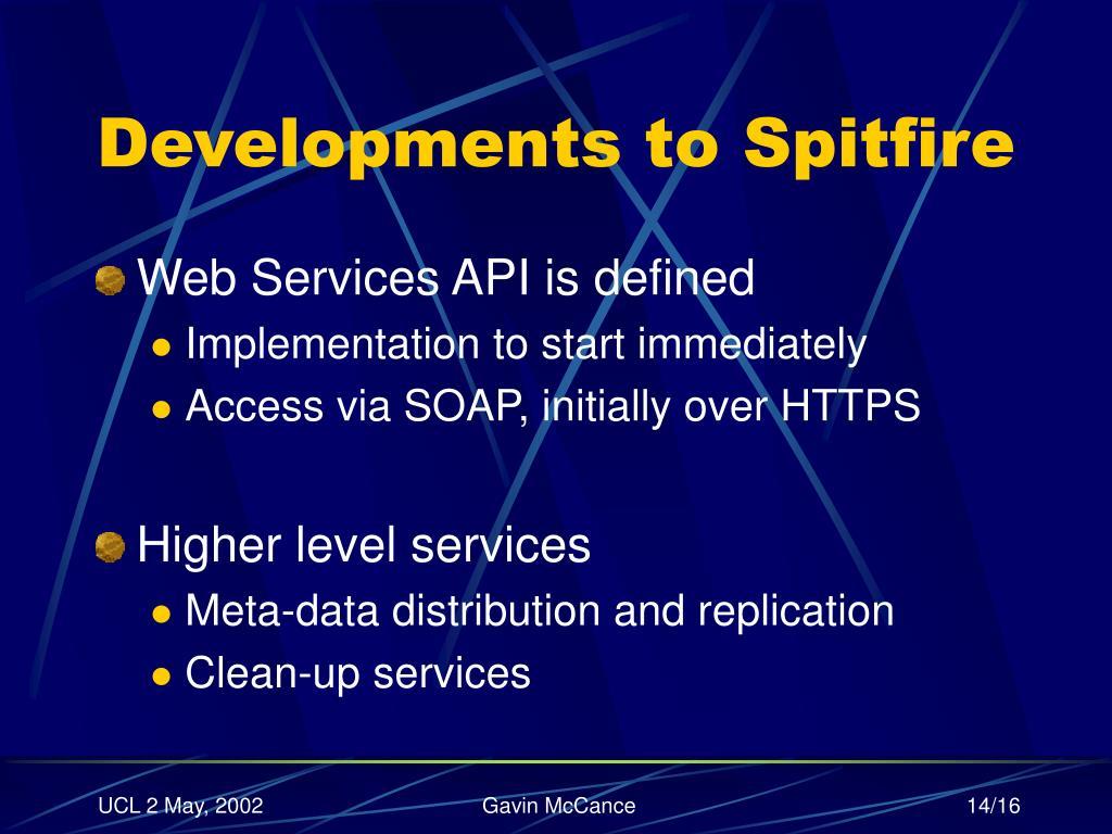 Developments to Spitfire