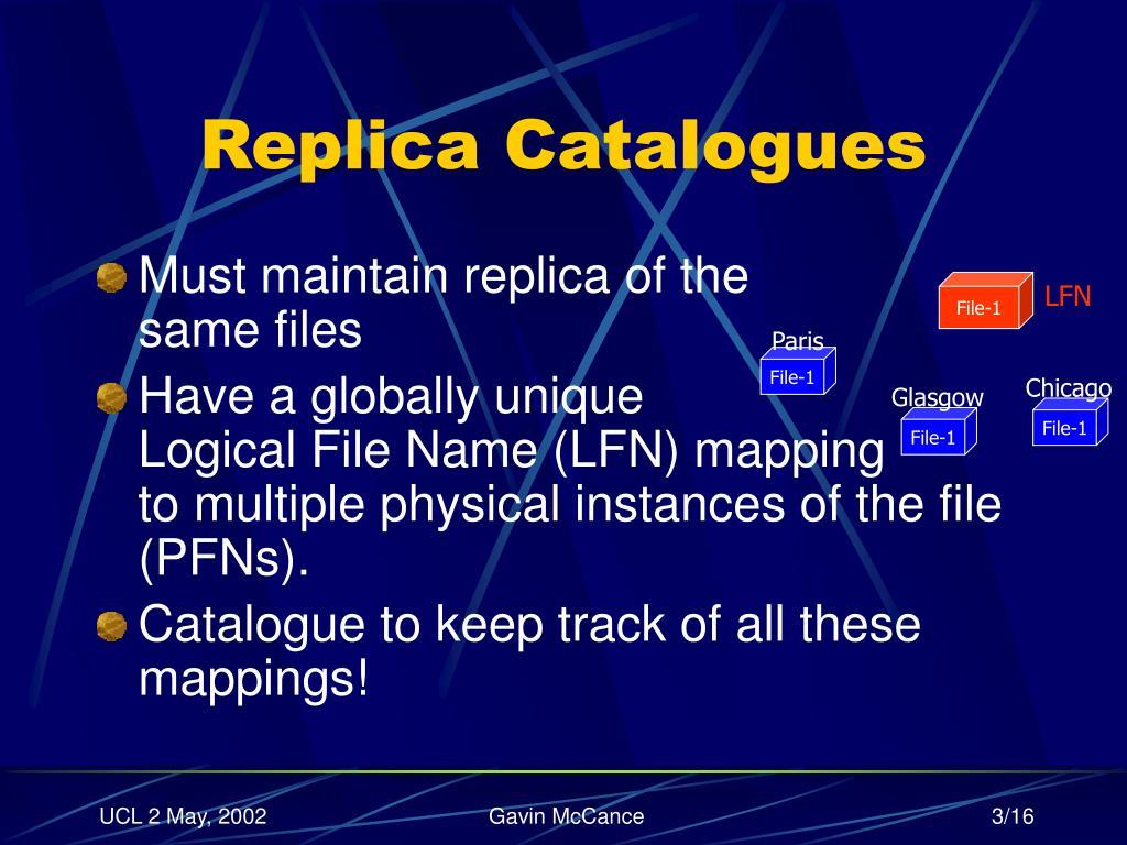 Replica Catalogues