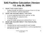 sas faultline calculation version 1 0 july 26 2004