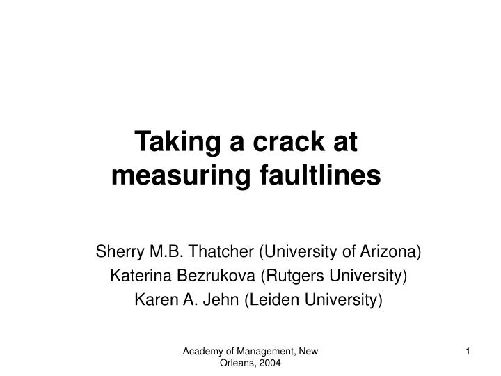 taking a crack at measuring faultlines n.