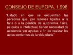 consejo de europa 1 998