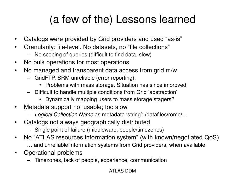 (a few of the) Lessons learned